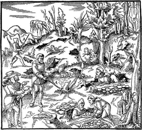 Recherche de minerai avec baguettes de sourcier au 15ème siècle