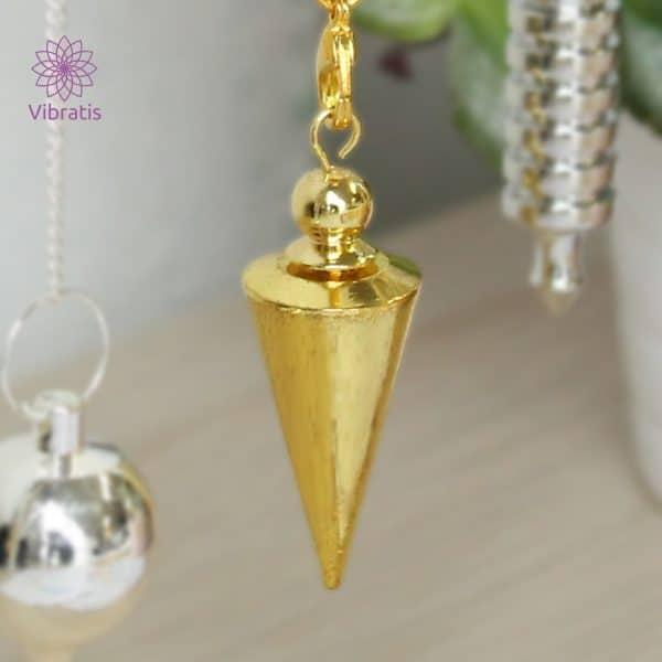 Pendule divinatoire cône doré